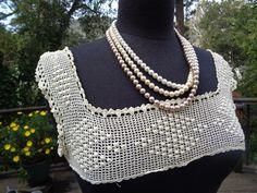 Antique Cotton Crochet Bodice Insert Top Fragment Applique Filet Lace Bobbles Wedding Bridal Lace Trim 116