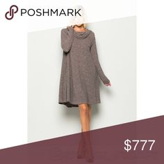 """🆕 Dress for the season! This knit, off shoulder, cowl neck rib dress featuring long sleeve, short length, solid, a soft and snug knit material. Two front pockets make this even cozier! Wear with leggings and boots for an even cozier look.  Rib Fabrication. High quality                                                                                       MADE IN THE 🇺🇸!  5771 Model is 5'10"""" tall and wearing size S    32"""" bust, 24"""" Waist and 34"""" Hips 95% POLYESTER 5% SPANDEX Dresses"""