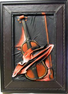 EINZELSTÜCK Geigenbild LEDER 3-dimensional UNIKAT Geige Bratsche Violine Rahmen