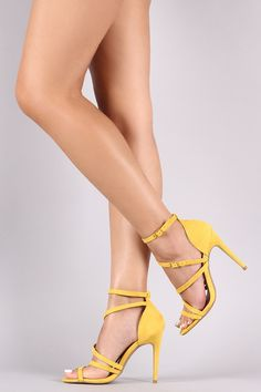 Shop This lovely heel features an open toe silhouette, strappy design vamp, and wrapped stiletto heel. Stilettos, Stiletto Heels, Beautiful High Heels, Beautiful Legs, Sexy Legs And Heels, Sexy Feet, Extreme High Heels, Foot Toe, Fancy Shoes