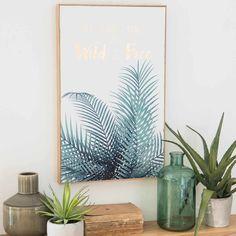 Tableau palmier 35x55cm WILD & FREE