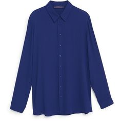 Flowy Blouse (1.645 RUB) ❤ liked on Polyvore featuring tops, blouses, blue long sleeve top, long sleeve blouse, button blouse, blue top and mango blouse