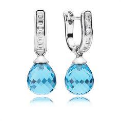 Pandora Ohrschmuck Blauer Tropfen 290588NBS https://www.thejewellershop.com/ #ohrschmuck #tropfen #pandora #ohrringe #glaskristall #silber #jewelry #schmuck #silver #zirkonia #creolen
