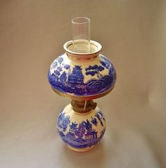 Blue Willow Ironstone Pedestal Oil Lamp | Oil lamps | Pinterest ...