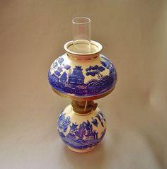 Oil Lamp Mini Porcelain Blue Willow Pattern Mint Vintage