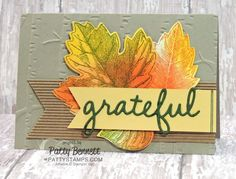 Stampin' Up! Woodland embossing folder and Seasonal Frame thinlit dies note card for fall with stamped and sponged Vintage Leaves stamp set.