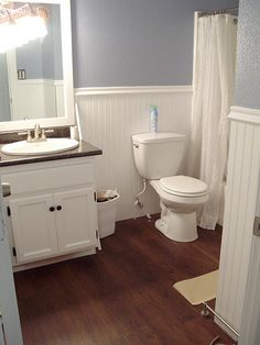 the bead board in the bathroom, love it! color Russian Blue by Behr