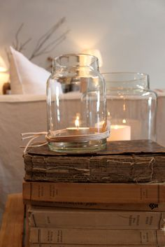 Such a pretty, simple way to add light and ambience to a favourite space.  -- Eve.