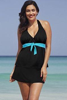 cdc97ae744f5f Plus Size - Turq Halter Slit Skirtini Plus Size Swimwear