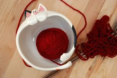 Cat Shaped Ceramic Yarn Bowl IN STOCK by PotsWithPersonality, $42.00