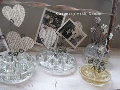 Chipping with Charm: Glass Flower Frog Photo Holders...a touch of Valentine's