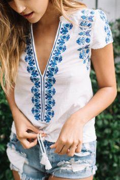 Spell    Santorini embroidered blouse in white