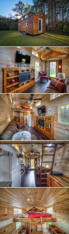 The Dreamer is a 24' tiny house built by Alabama Tiny Homes. With its wood siding and full wood interior, this house would make for a perfect cabin retreat.