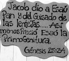 Escuela de Manualidades Bezaleel: Manualidades Bíblicas, Esaú pierde su primogenitura/Génesis 25:34