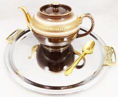 Sadler Brown Teapot Brown Gold and Pink Teapot by ShellyisVintage #GotVintage #Vintage #Kitchen