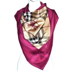 Pre-owned Silk scarf with nova check pattern (10.265 RUB) ❤ liked on Polyvore featuring accessories, scarves, fuchsia, burberry scarves, burberry, checkered scarves, silk shawl and burberry shawl