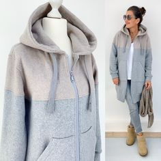 Fashion Over 40, Hoodies, Sweatshirts, Winter Coat, Jogging, Winter Outfits, Comfy, Beige, Sewing