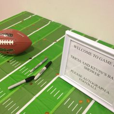 Football themed baby shower-Autograph the football