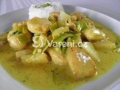 Rychlý a snadný recept na přípravu kuřecího masa s pórkem a ananasem v jemné smetanové kari omáčce. Thai Red Curry, Soup, Meat, Chicken, Ethnic Recipes, Pineapple, Soups, Cubs
