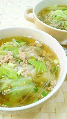 Cabbage and ground pork groundnut soup I Love Food, Good Food, Yummy Food, Soup Recipes, Cooking Recipes, Asian Recipes, Healthy Recipes, Japanese Dishes, Japanese Food
