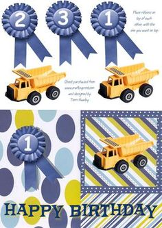 1 3 happy birthday boy on Craftsuprint - Add To Basket! Happy Birthday Boy, Teddy Bear Birthday, Birthday Cards, Little Boys, Decoupage, Card Making, Truck, Greeting Cards, Basket