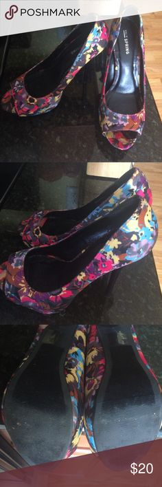 Gorgeous floral stilettos Worn once to a wedding, minimal wear on treads. Gorgeous shoe! Call It Spring Shoes Heels