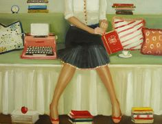 Reading, Writing, Crumpets & Tea <3 (art by Janet Hill)