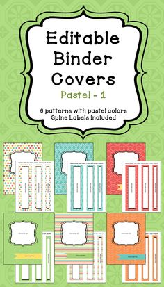 Editable Binder Covers And Spines In Pastel Colors  Text Color