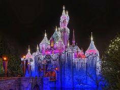 29+ Christmas Night at Disneyland Wallpapers  - Disneyland Sleeping Beauty Castle with Christmas Lights