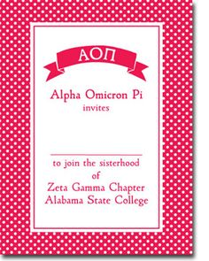 Alpha Omicron Pi Bid Day Invitations from Truly Sisters