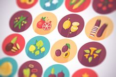 Fruits and vegetables flat icons set by painterr on @creativemarket