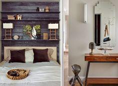 meubles vintage et tête de lit avec rangement- idées par Architectural Digest