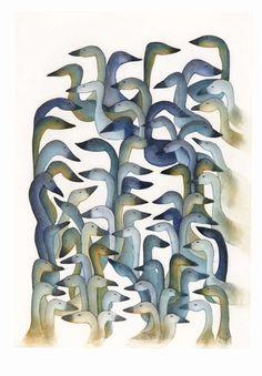 Snow Geese Return, by Ningeokuluk Teevee (Inuit Artist), 2008 -- Etching & Aquatint