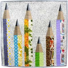 """PENCIL ME IN Art Quilt - 25"""" x 25""""   Craftsy"""