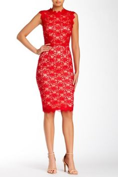 Mikael Aghal Illusion Lace Dress