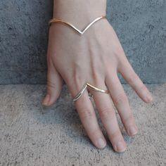 Chevron Open Oval Bangle Bracelet - Mixed Metals - Silver Brass Elfic Elvish - Modern - Adjustable