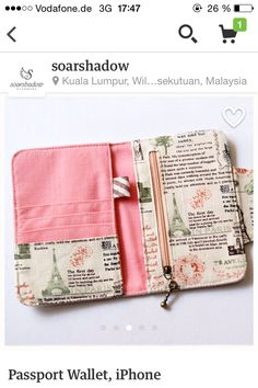 Passport Wallet iPhone Wallet Travel Journal by soarshadow de costura Sewing Tutorials, Sewing Crafts, Sewing Projects, Bag Tutorials, Diy Bags Patterns, Sewing Patterns, Purse Patterns, Sew Wallet, Card Wallet