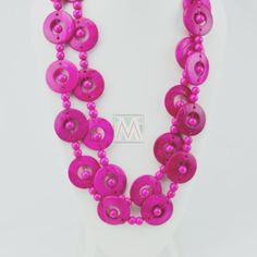 Pink Wood Disk Bead Boho Necklace ❤ liked on Polyvore featuring jewelry, necklaces, wooden bead necklace, pink necklace, wood bead necklaces, loop necklace and bohemian jewelry