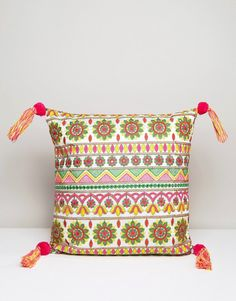America & Beyond Embroidered Cushion Cover With Tassel Detail