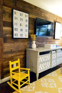 cosy wooden wall and feature bureau