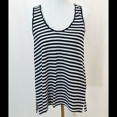 SaksFifthAvenue Blue Label Striped Tank - Linen NWOT! Black and white striped tank in 100% linen. Loose fit. Side slits. True to size. No trades. Saks Fifth Avenue Tops Tank Tops