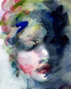 Blue Mae Watercolor Painting Face in Blues and by CGallaFineArt, $18.00