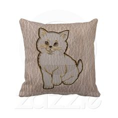 Leather Kitten Soft Pillow