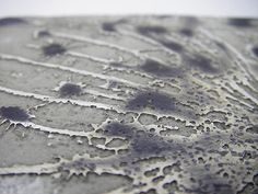 Miranda Meilleur. Silversmith.  Detail of acid etched silver.