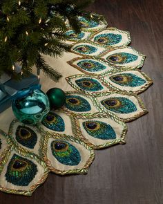 Peacock Christmas Tree Skirt. #TreetopiaDreamTree