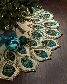 Peacock Christmas Tree Skirt. #TreetopiaDreamTree