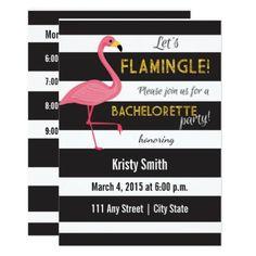 #white - #Flamingo Bachelorette Invitation- Black and White Card