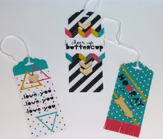 Gift tags using the Geometrical stamp set, Kaleidoscope Designer Series Paper and the Scolloped Tag Topper Punch from Stampin' Up!'s 2014 Occasions Catalog.  For additional information, contact me at http://lindamadison.stampinup.net.