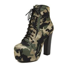 COOLBRAT Camouflage Boots Thick Sexy High Heels Boots Platform Autumn Winter Shoes Chaussure lady Bota Woman Ankle Bottes H058
