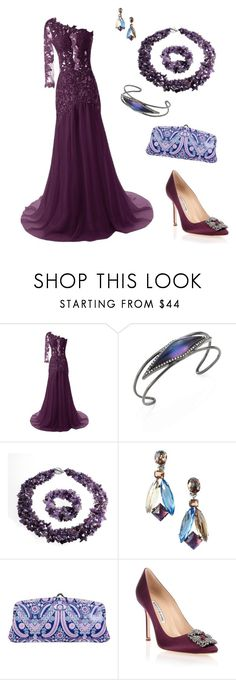 """The Lady in Purple"" by heatherjoy123 ❤ liked on Polyvore featuring Alexis Bittar, Bling Jewelry, Schreiner, Amy Butler and Manolo Blahnik"